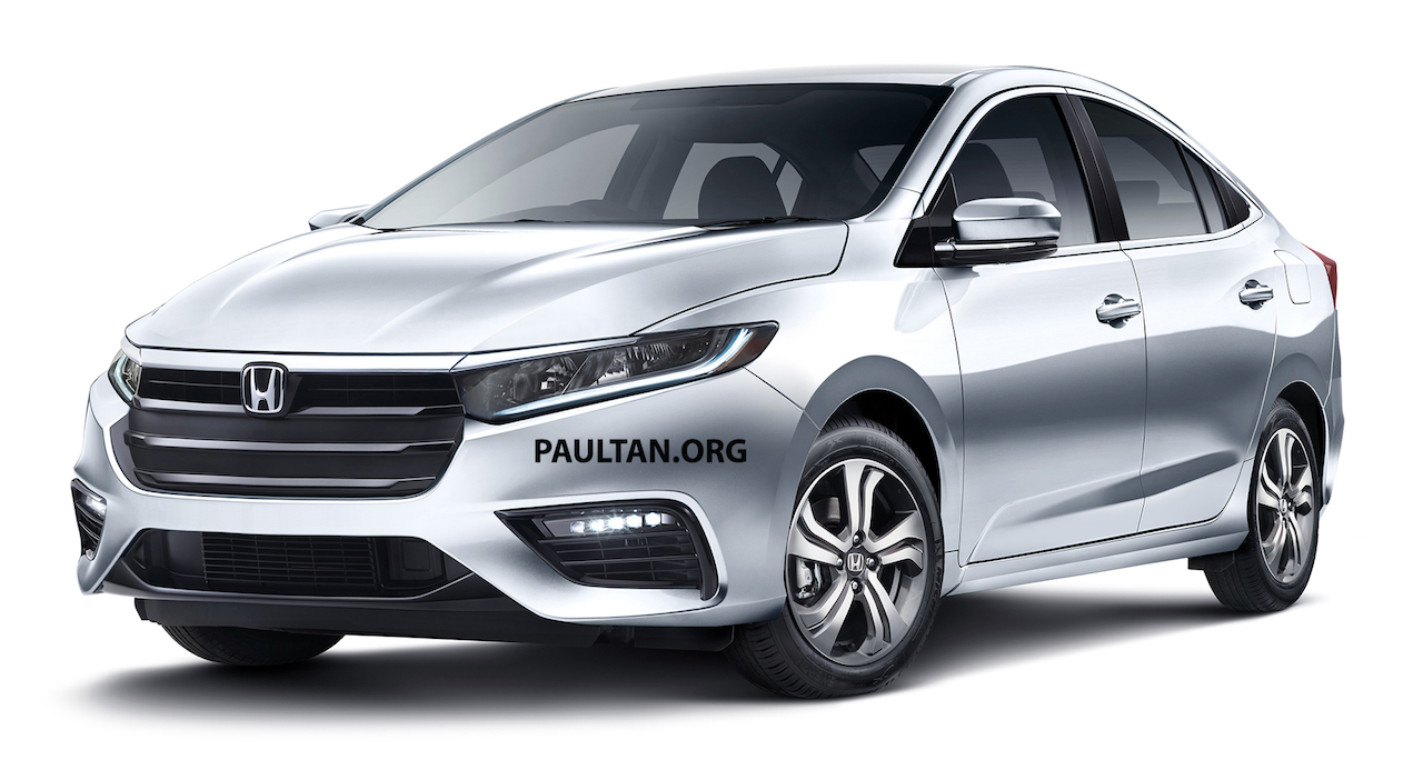 Next-gen 2019 Honda City front three quarters rendering