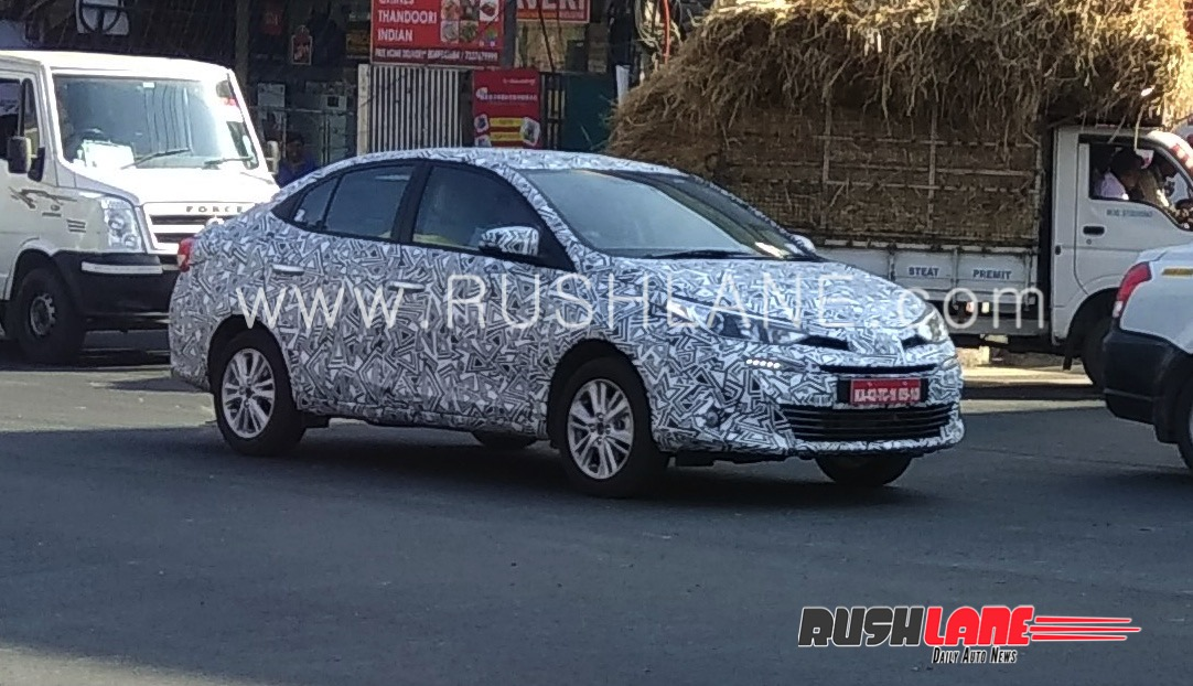 Toyota Vios (Toyota Yaris Sedan) front three quarters right side spy shot India