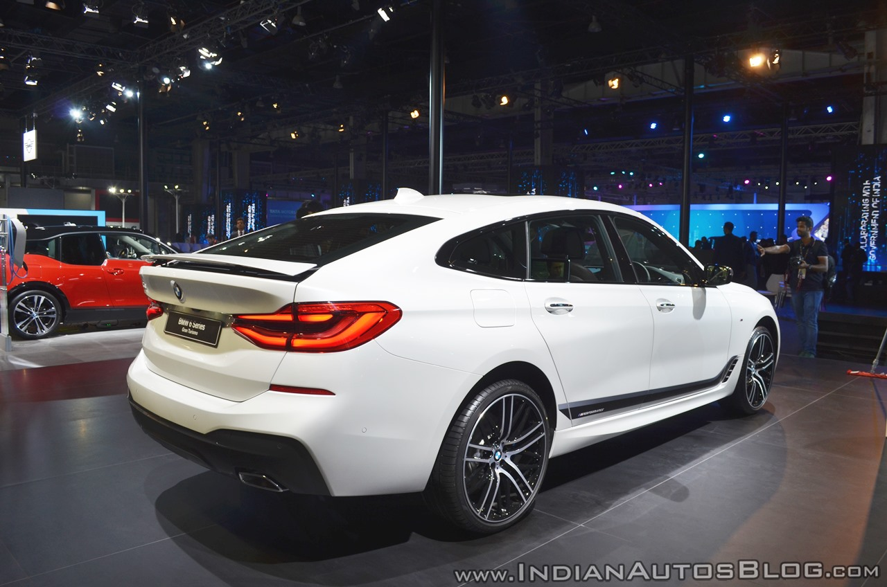 BMW 6 Series Gran Turismo rear three quarters right side at Auto Expo 2018