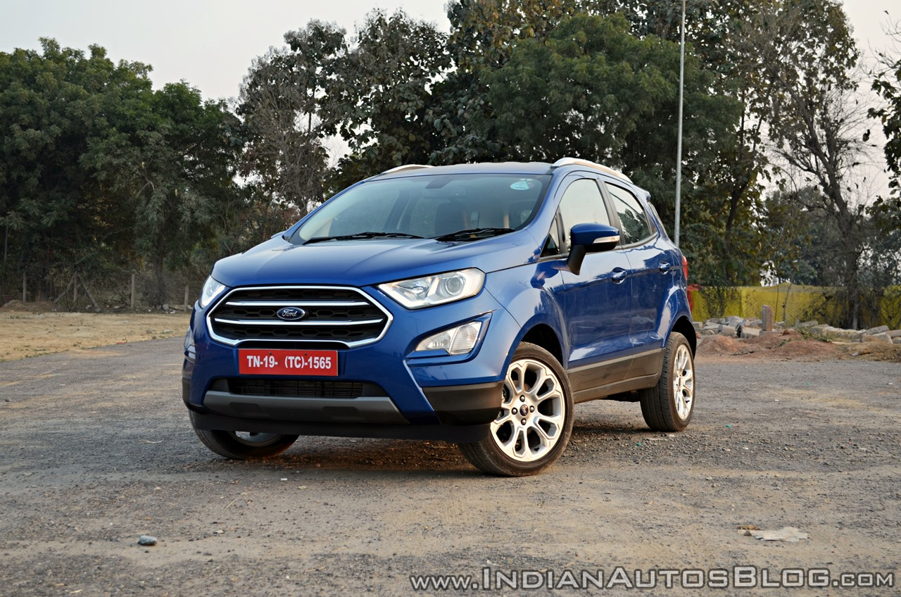 Ford EcoSport Petrol AT review front three quarters