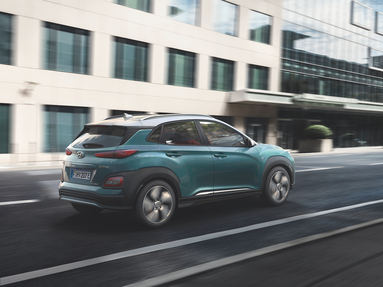 Hyundai Kona Electric rear three quarters right side