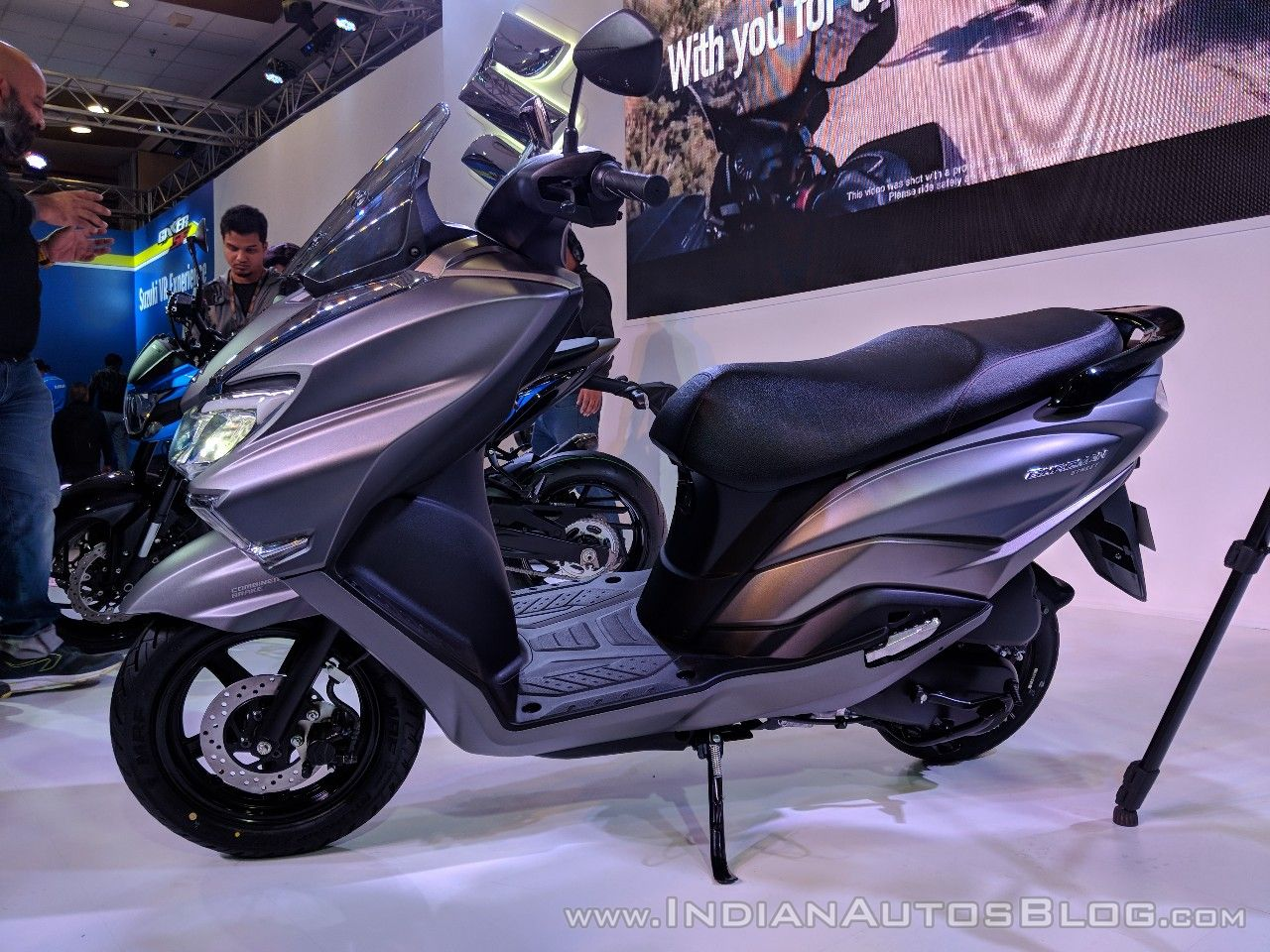 Suzuki Burgman Street left side at 2018 Auto Expo