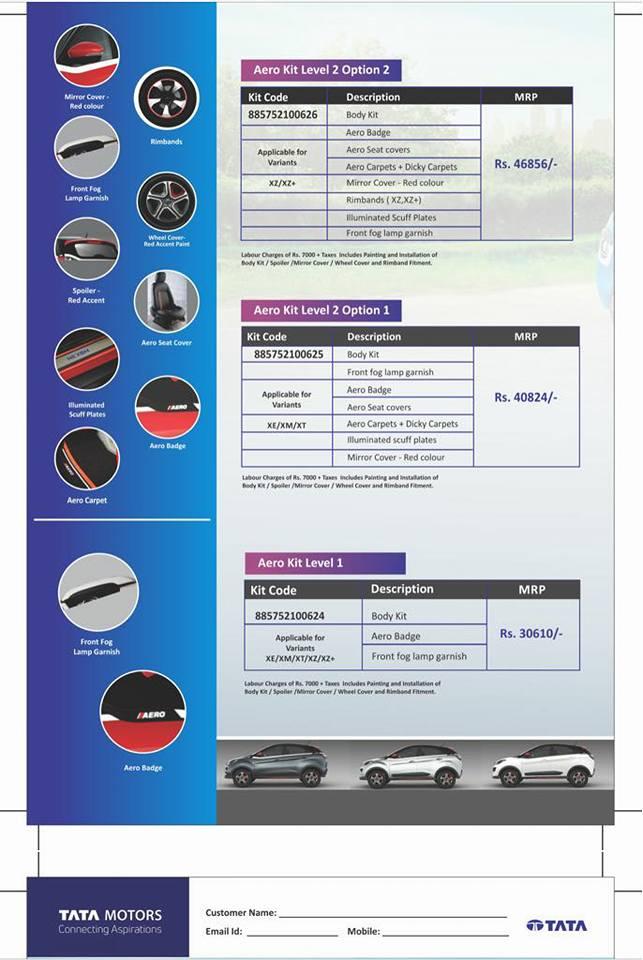 Tata Nexon Aero kit features
