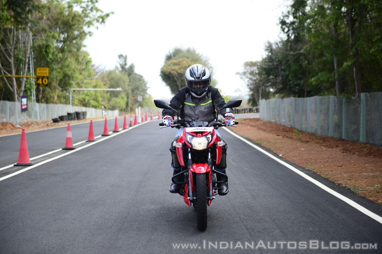 2018 TVS Apache RTR 160 4V First ride review front action