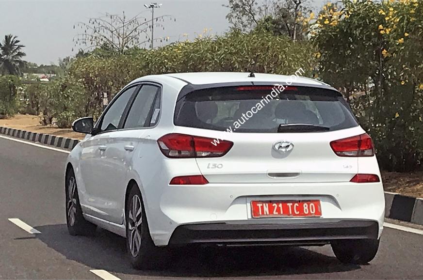 Hyundai i30 rear three quarters India spy shot