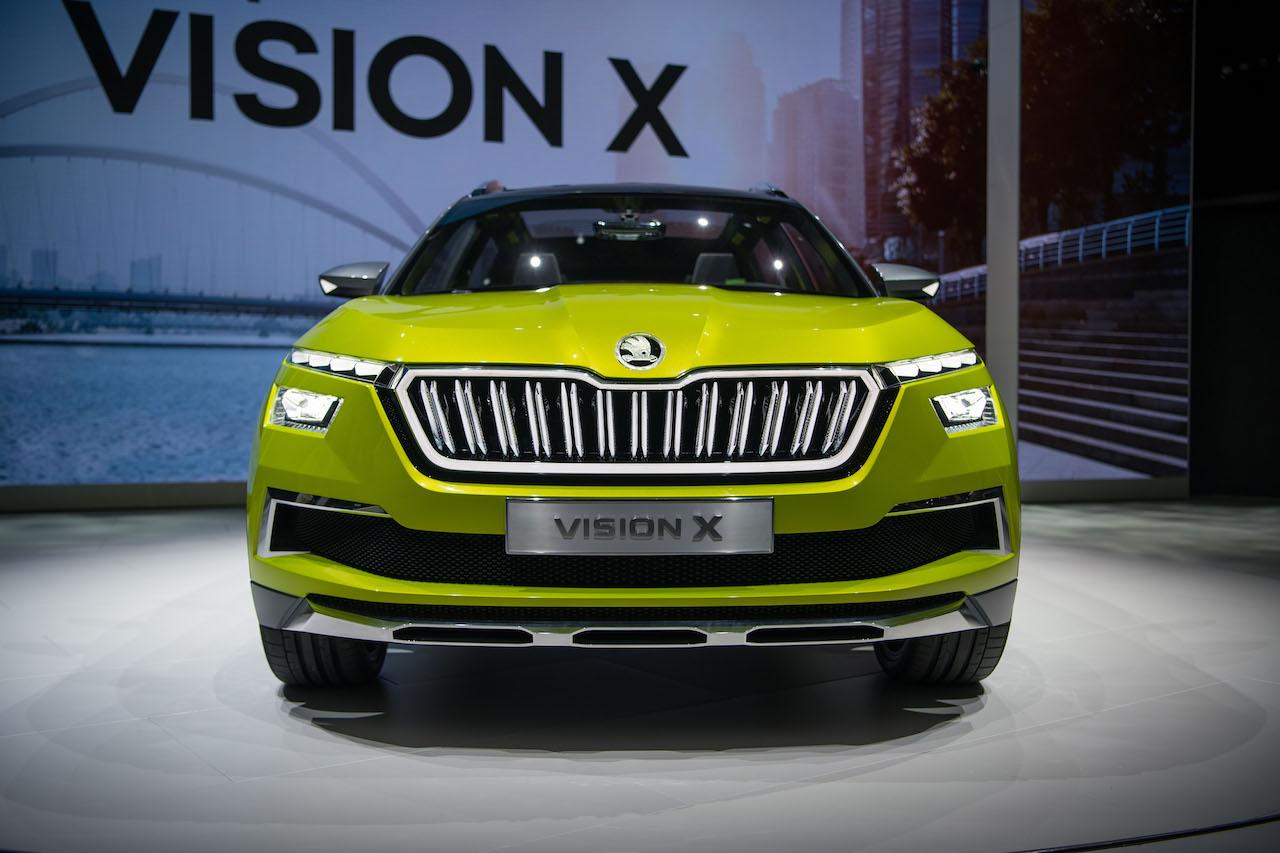 Skoda Vision X concept front at 2018 Geneva Motor Show