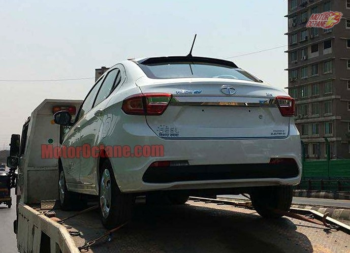 Tata Tigor Electric rear three quarters spy shot