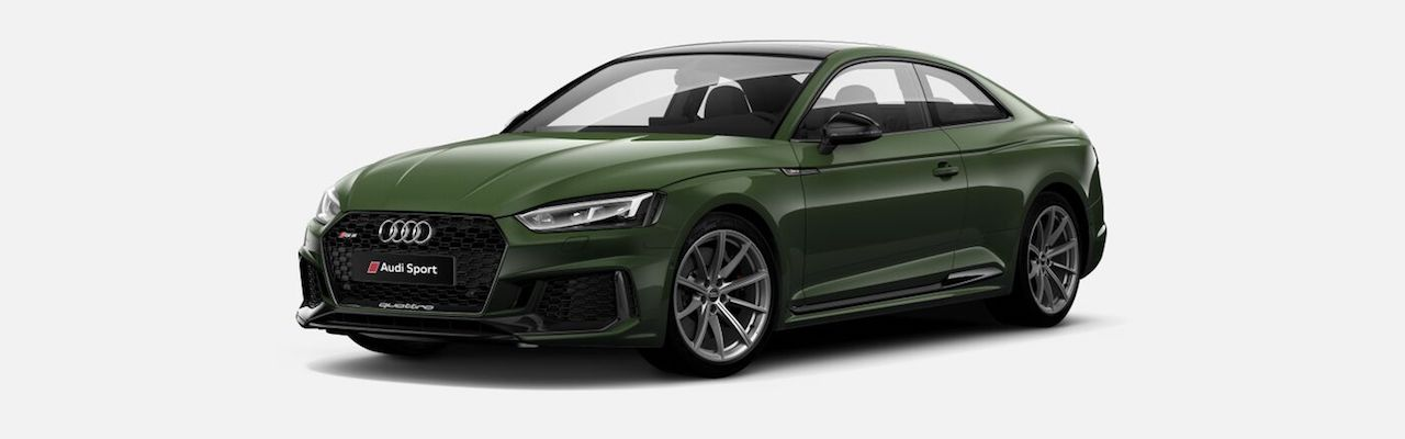 Indian-spec 2018 Audi RS 5 Coupe Sonoma Green Metallic front three quarters
