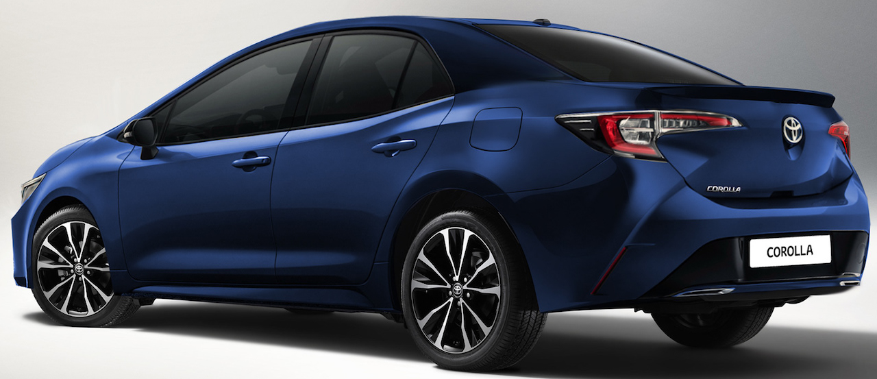 Next-gen Toyota Corolla Altis rear three quarters rendering