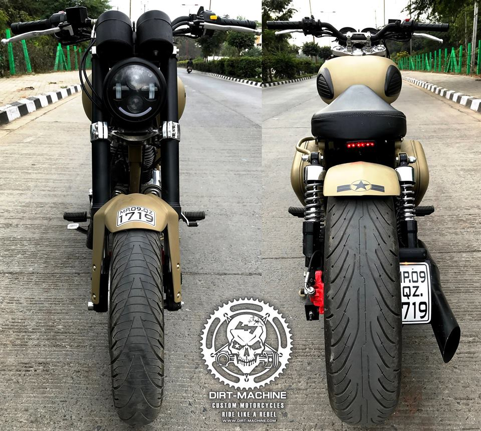 Royal Enfield Classic 500 Combat front and rear