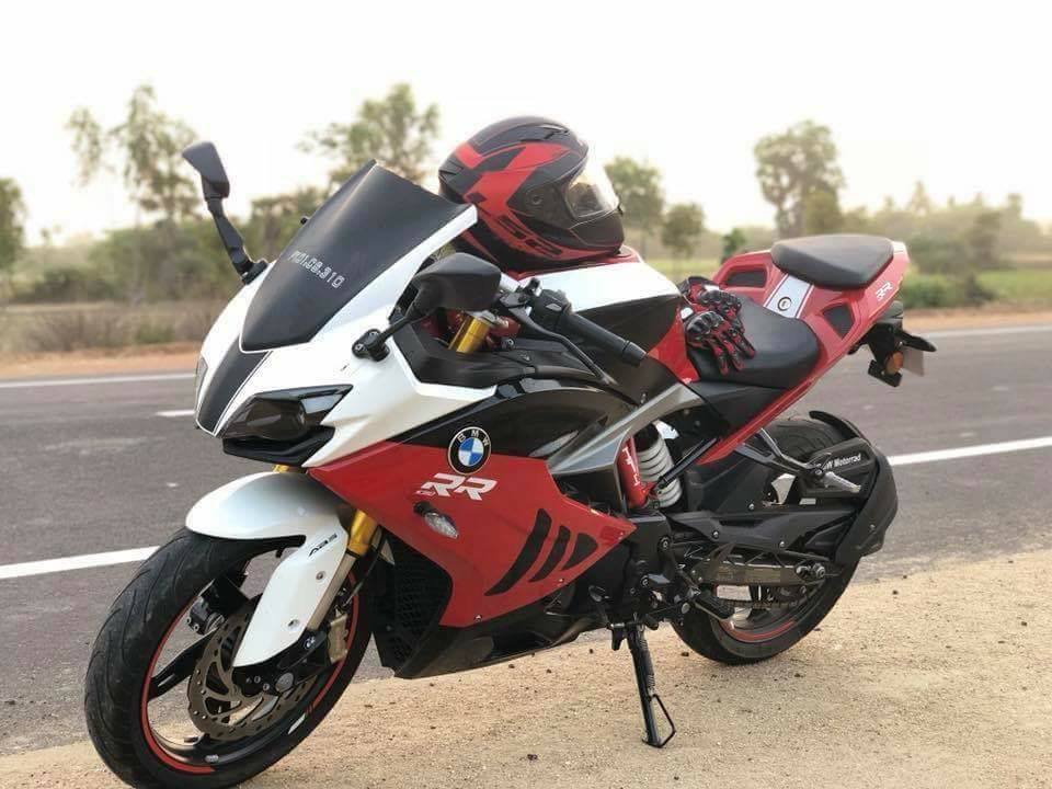 TVS Apache RR 310 with BMW S 1000 RR livery front angle