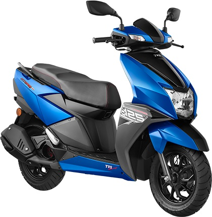 TVS Ntorq 125 Metallic Blue press front angle