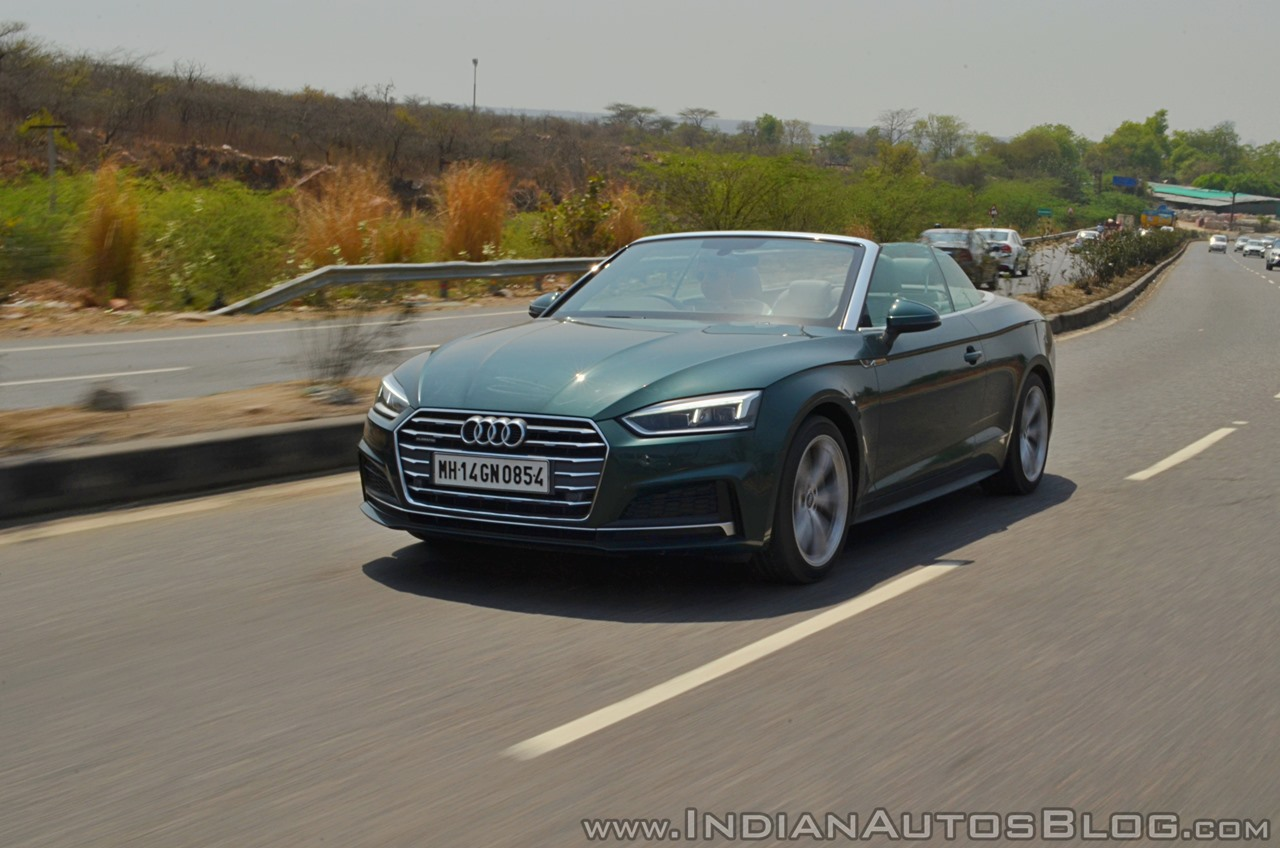 Audi A5 Cabriolet review front three quarters action shot