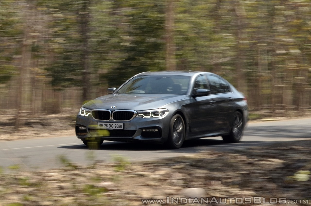 BMW 5-Series 530d review front action shot