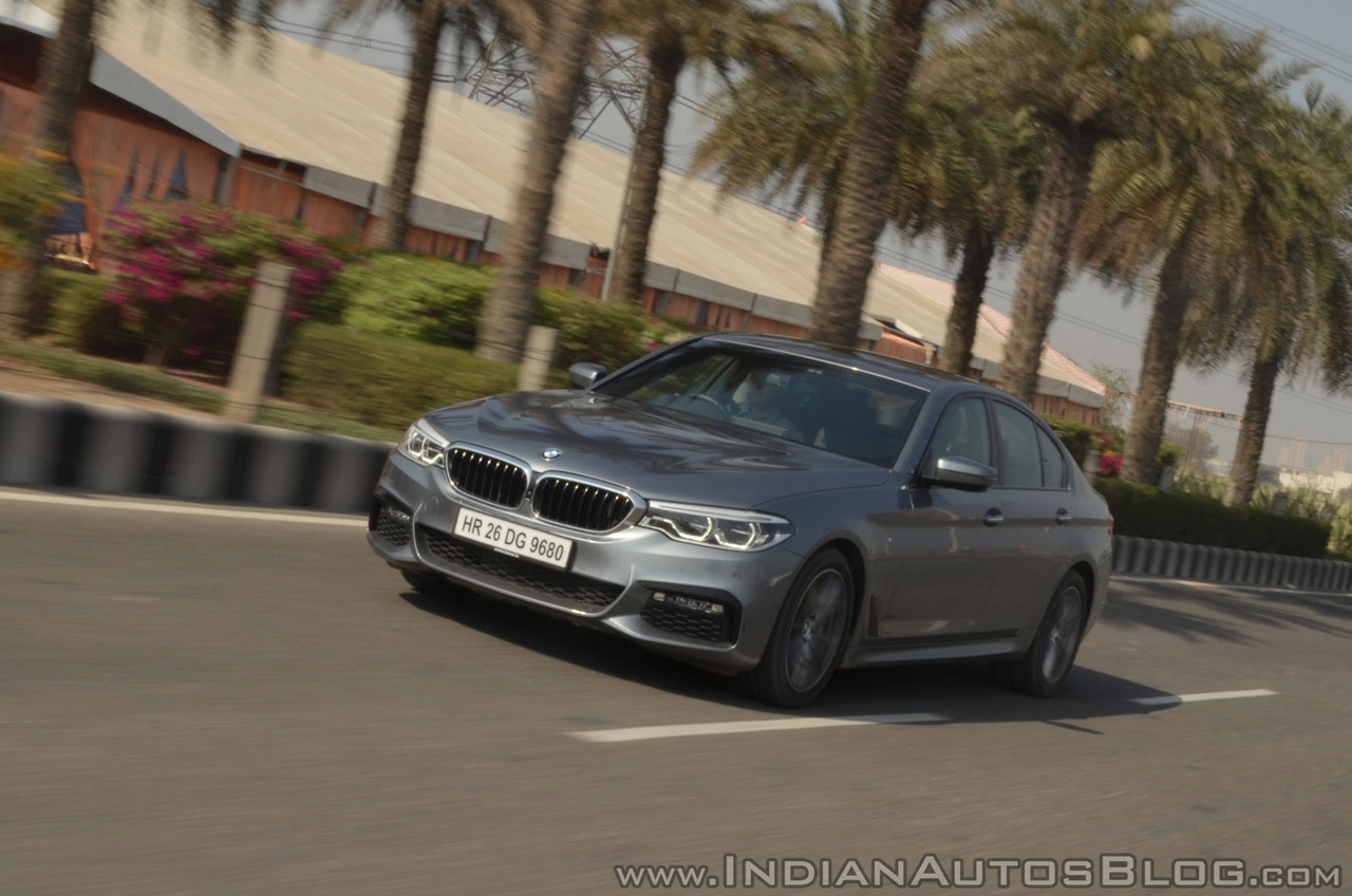 BMW 5-Series 530d review front three quarters action shot