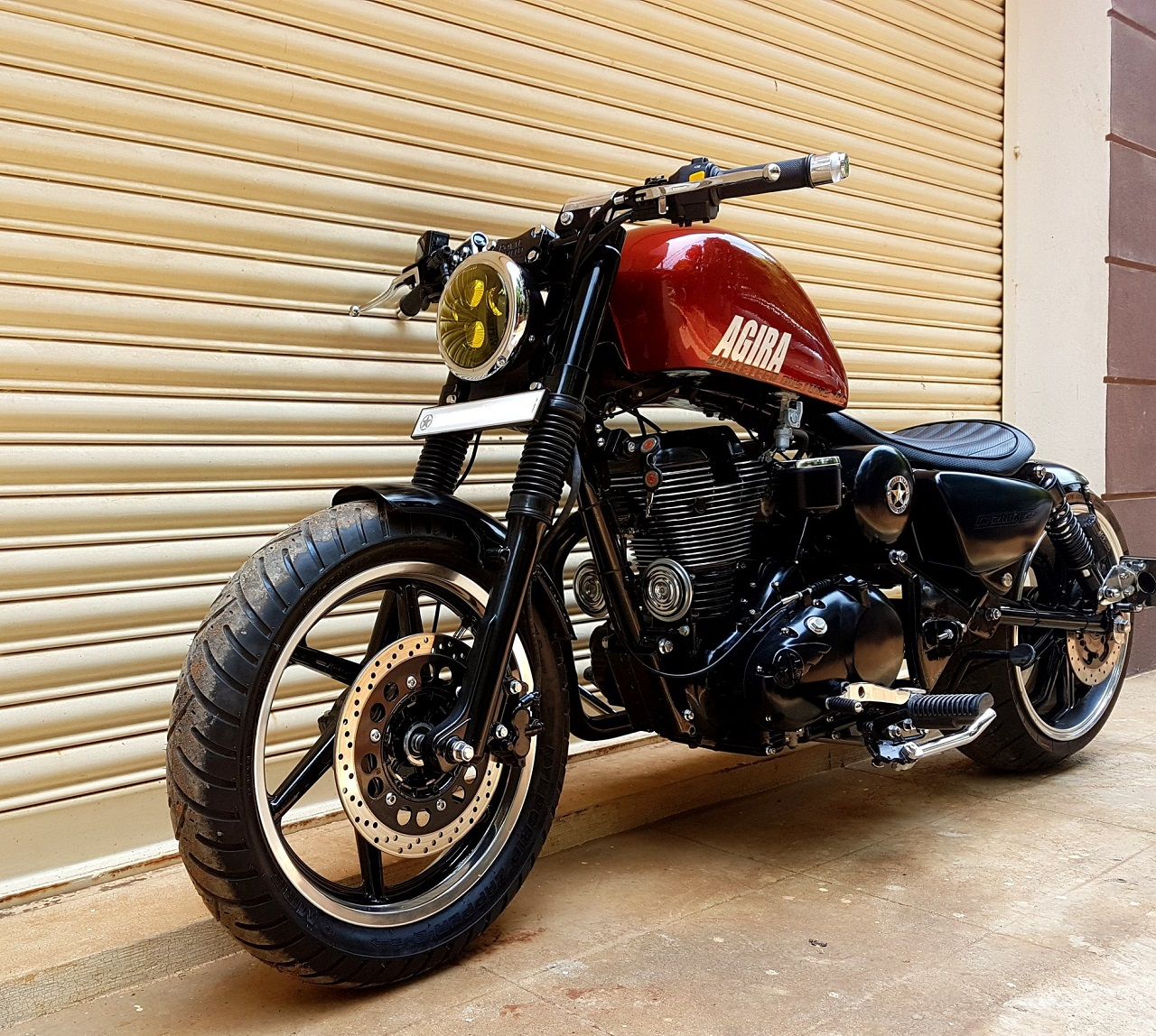 Custom Royal Enfield Agira by Bulleteer Customs front angle
