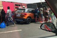 New Maruti Vitara Brezza orange-grey dual-tone rear three quarters spy shot