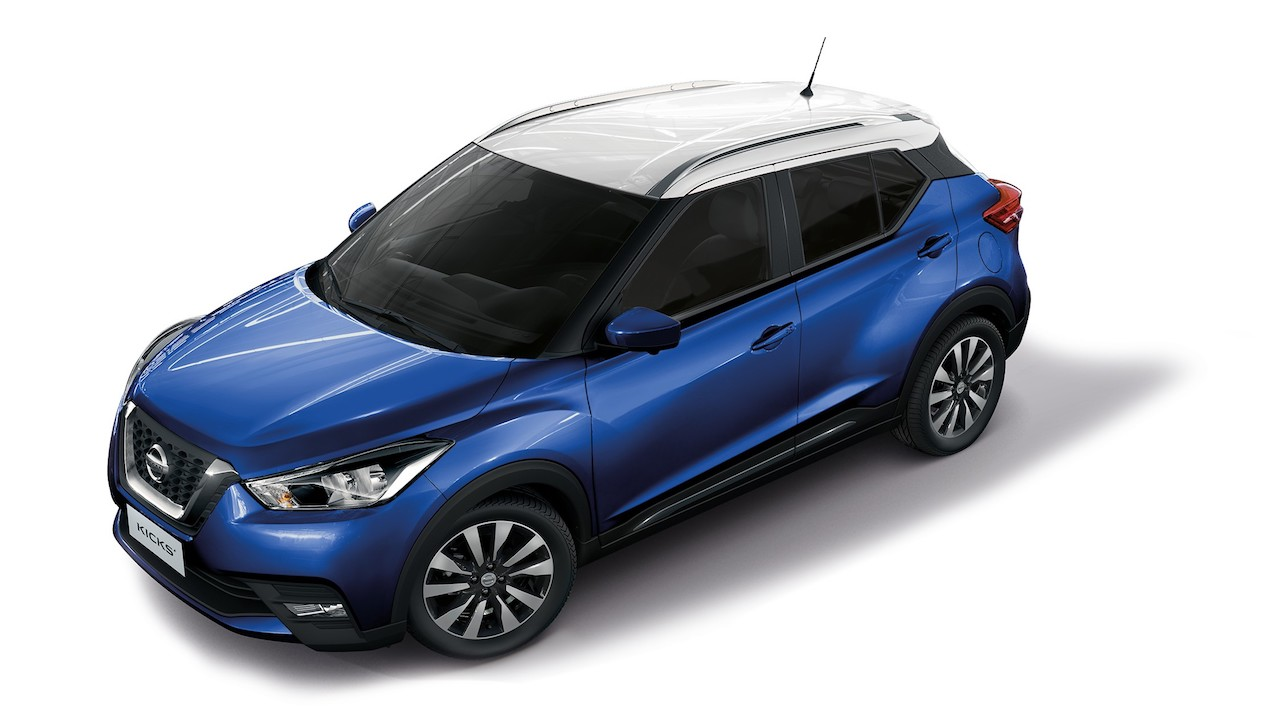 Nissan Kicks Fan Edition front three quarters elevated view