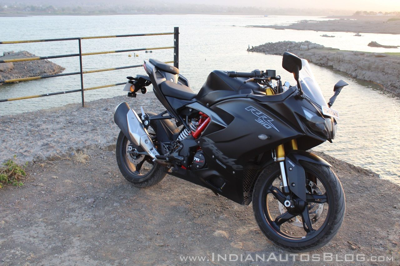 TVS Apache RR 310 Black detailed review front right quarter