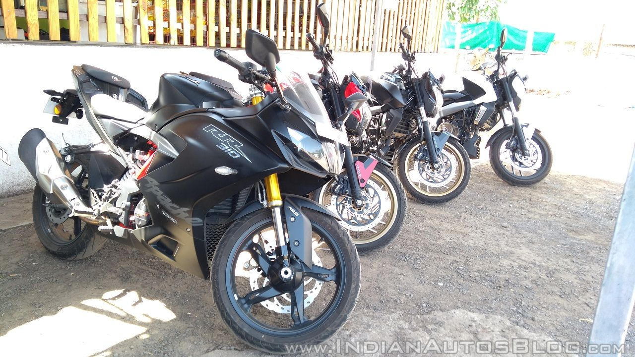 TVS Apache RR 310 Black detailed review group shot