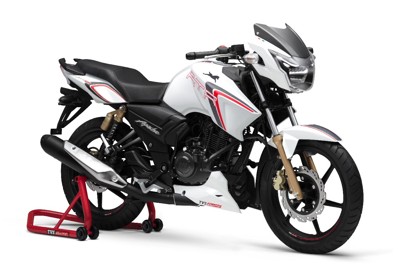 TVS Apache RTR 180 Race Edition press front angle