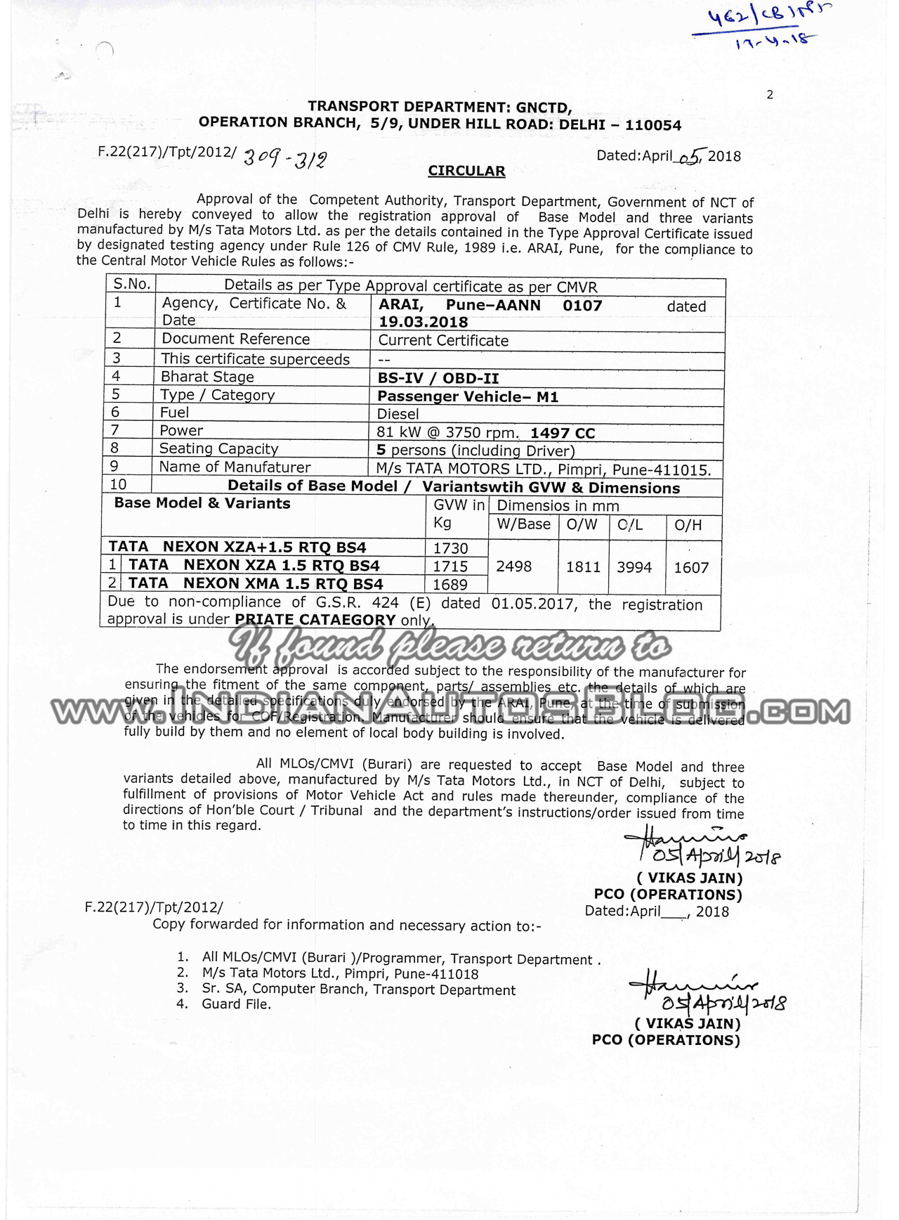 Tata Nexon AMT certification document