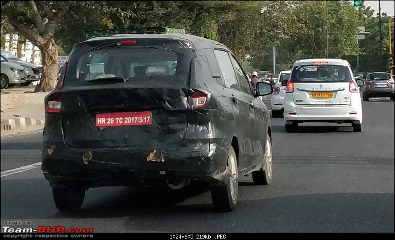 2018 Maruti Ertiga Petrol Variant Spotted On Test In New Delhi