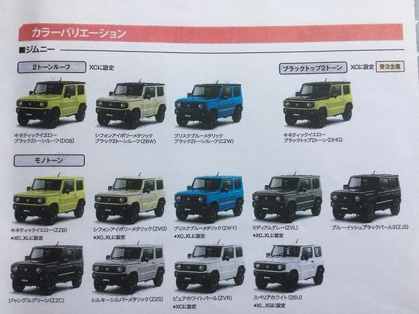 New 2019 Suzuki Jimny colours
