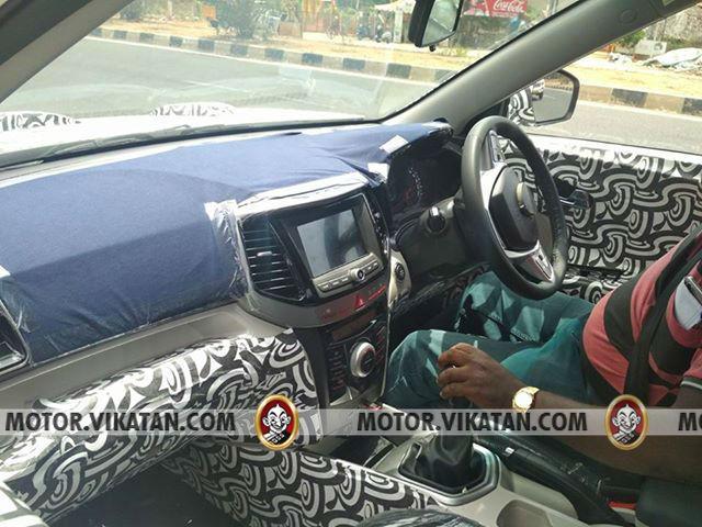 Production Mahindra S201 interior dashboard spy shot