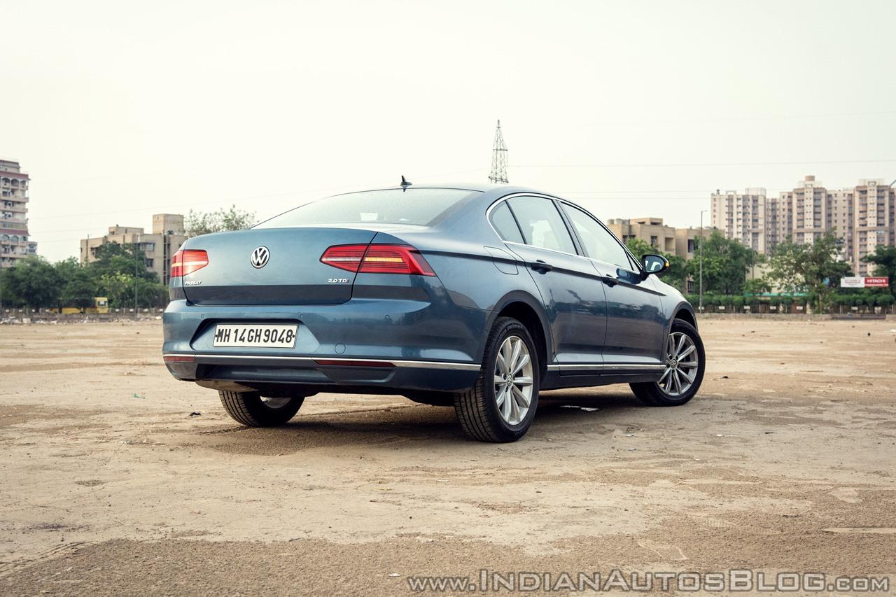 VW Passat review rear three quarters