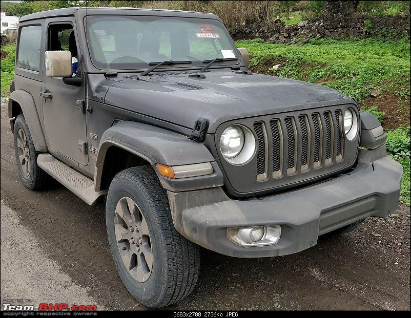 2-door 2019 Jeep Wrangler front three quarters right side spy shot India