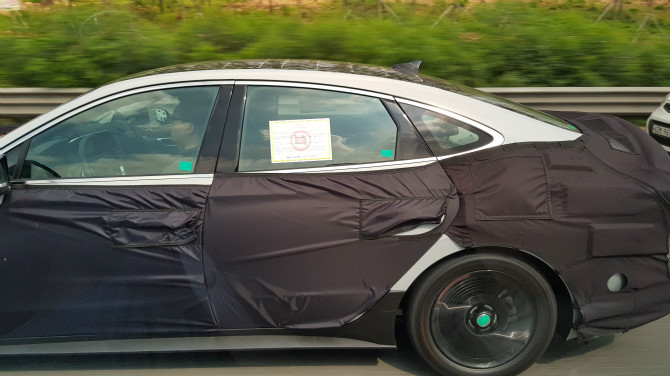 2020 Hyundai Sonata left side spy shot