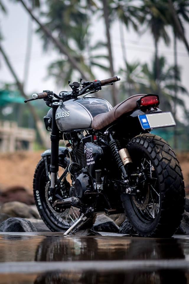 Royal Enfield Classic 500 modified scrambler 'Reckless' by Bulleteer Customs rear left quarter