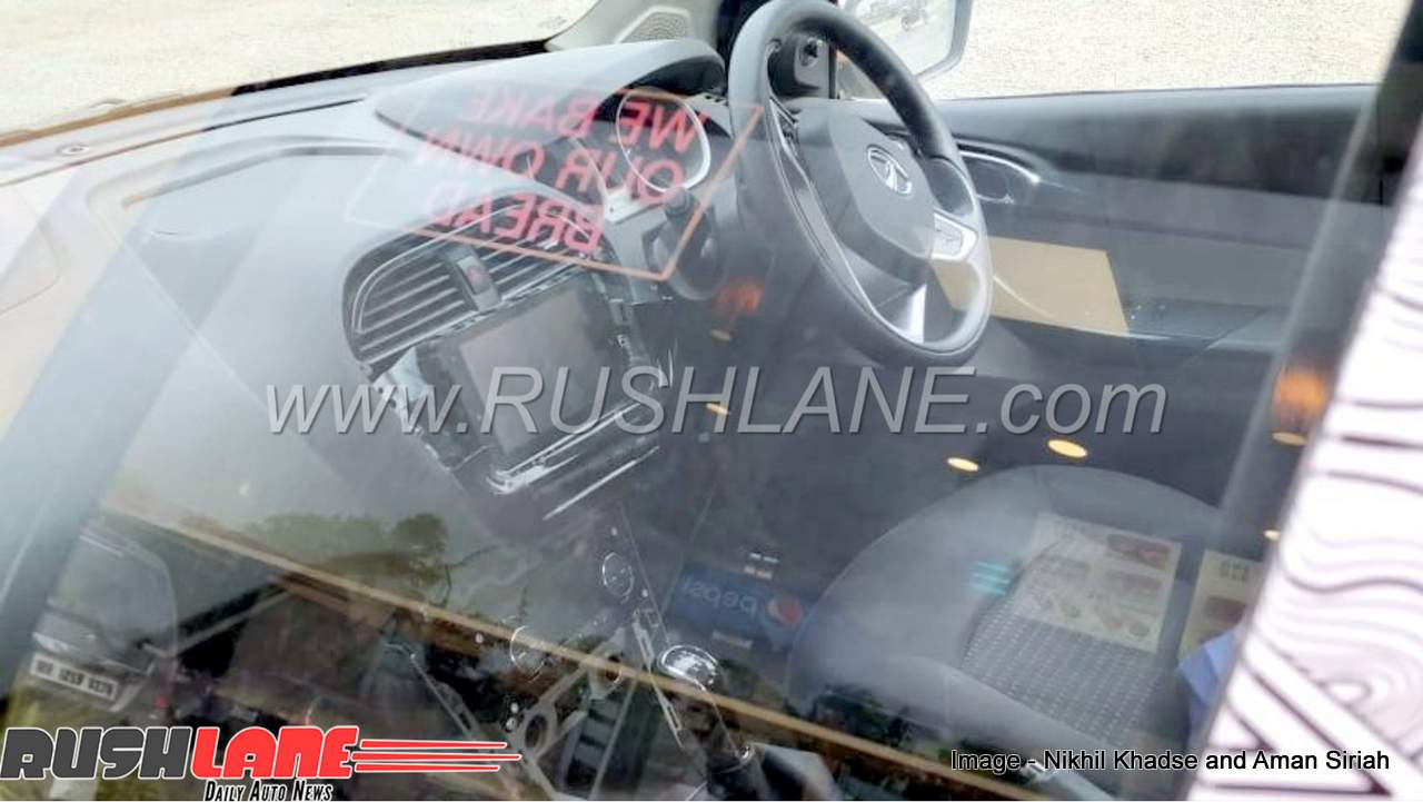 Updated Tata Tigor new infotainment system interior spy shot