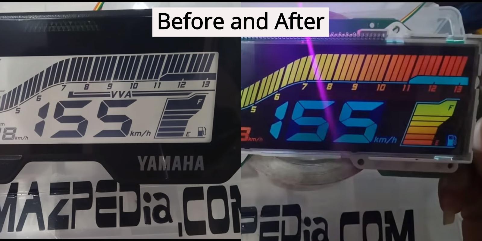 Standard Yamaha R15 V3 0 display modified to colour [Video]