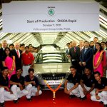 From L-R Mr, Stackmann, Mr. Oeljeklaus, Prof. Dr. Vahland, Chairman of the Board of Skoda Auto, Dr.Chacko, President and Managing Director, Volkswagen India, Mr.Nestler, Dr. Gruenberg and Mr. Kuehl