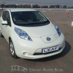 Nissan Leaf front three quarters