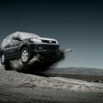 Tata Safari Storme leaping into the air