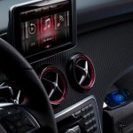 Mercedes A-Class display on the dashboard with Social connectivity option