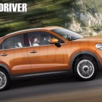 Fiat 500X side profile rendering