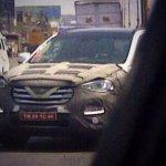 Hyundai Santa Fe caught testing front view