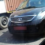 Front view of the Tata Aria facelift caught testing