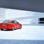 Rear right three quarter angle of the red 2014 BMW 4 Series Coupe