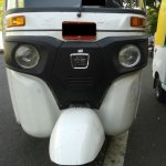 front fascia of the 2013 Bajaj RE three wheeler spied