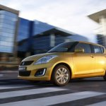 front right three quarter of the 2014 Suzuki Swift accidentally revealed