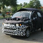 Front three quarter of the Mahindra S101 spied