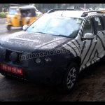 Front three quarter of the Nissan Terrano test mule