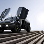 Front of the Kia Niro Concept with scissor doors open