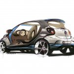 Rear three quarter sketch of the Smart Fourjoy Concept