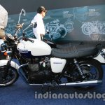 Triumph Bonneville launched white side 2